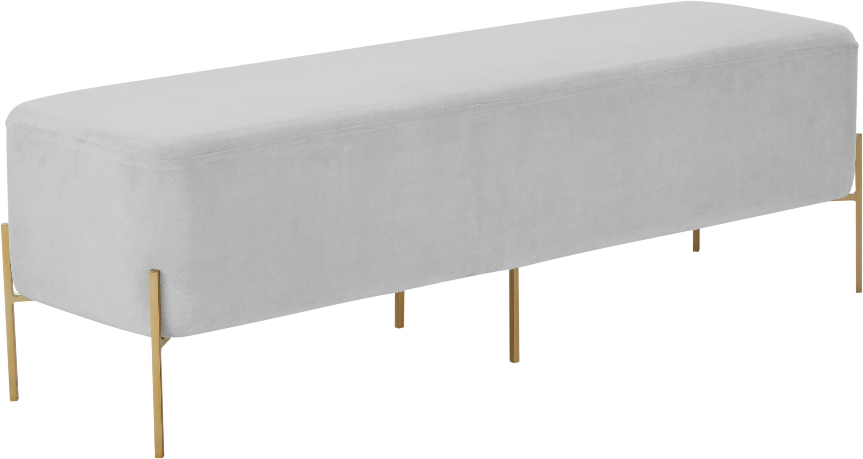 Panca imbottita in velluto Harper, Rivestimento: velluto, Rivestimento: grigio chiaro Gambo: dorato, opaco, Larg. 140 x Alt. 45 cm