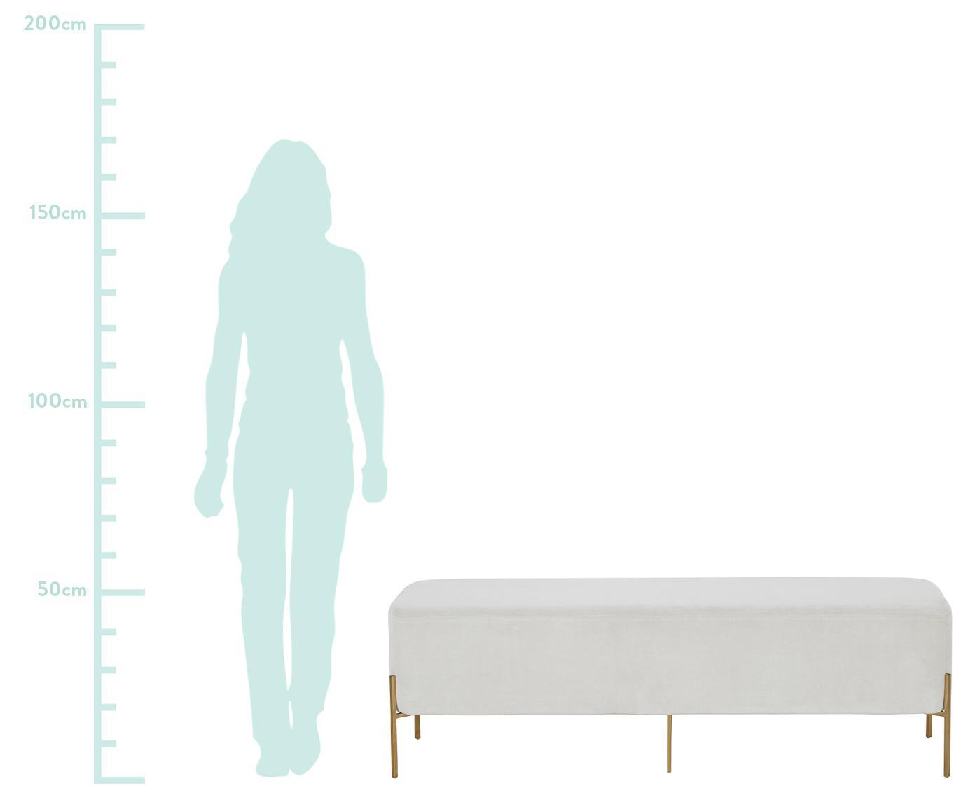 Ławka z aksamitu Harper, Tapicerka: aksamit bawełniany, Tapicerka: jasny szary Nogi: odcienie złotego, matowy, S 140 x W 45 cm
