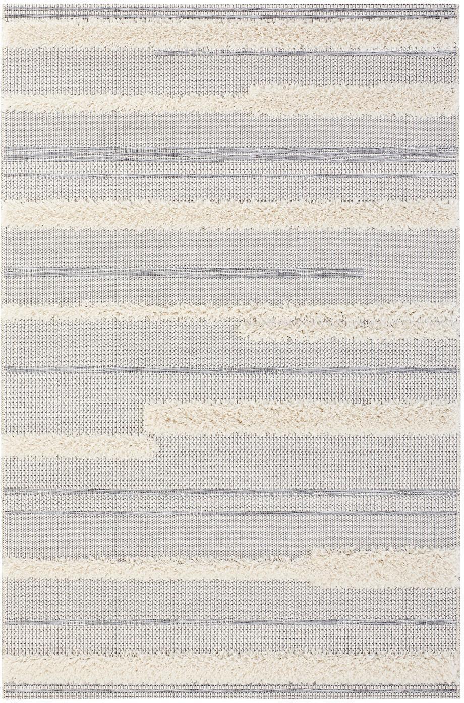 Alfombra de interior/exterior Ifrane, Parte superior: 100%polipropileno, Reverso: polipropileno, Crema, gris, An 155 x L 230 cm (Tamaño M)