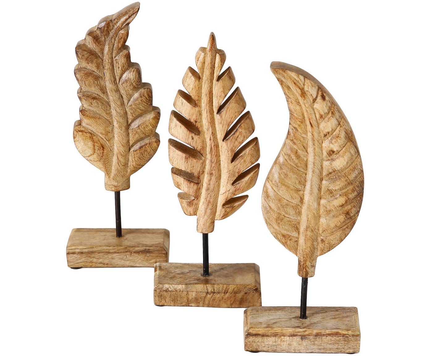 Decoratieve objectenset Leaf, 3-delig, Mangohout, Bruin, 12 x 30 cm