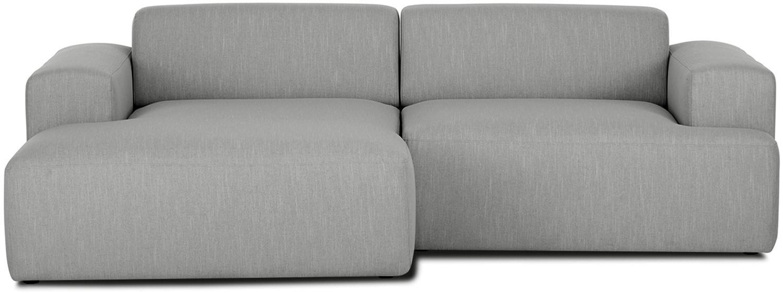 Ecksofa Melva (3-Sitzer), Bezug: Polyester Der hochwertige, Gestell: Massives Kiefernholz, Spa, Webstoff Grau, B 240 x T 144 cm