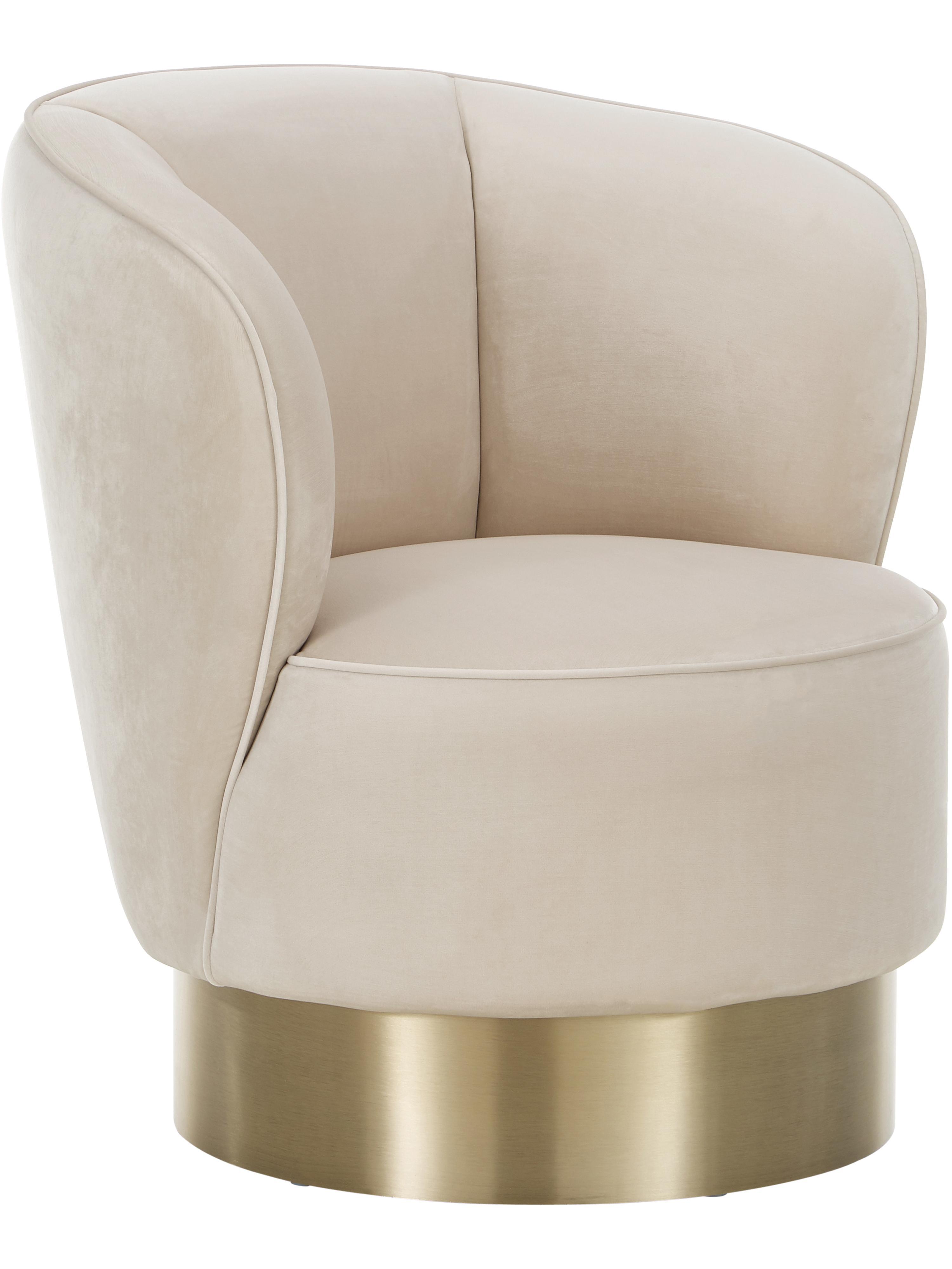 Fotel koktajlowy  z aksamitu Olivia, Tapicerka: aksamit (poliester) 3000, Aksamit beżowy, S 70 x W 70 cm