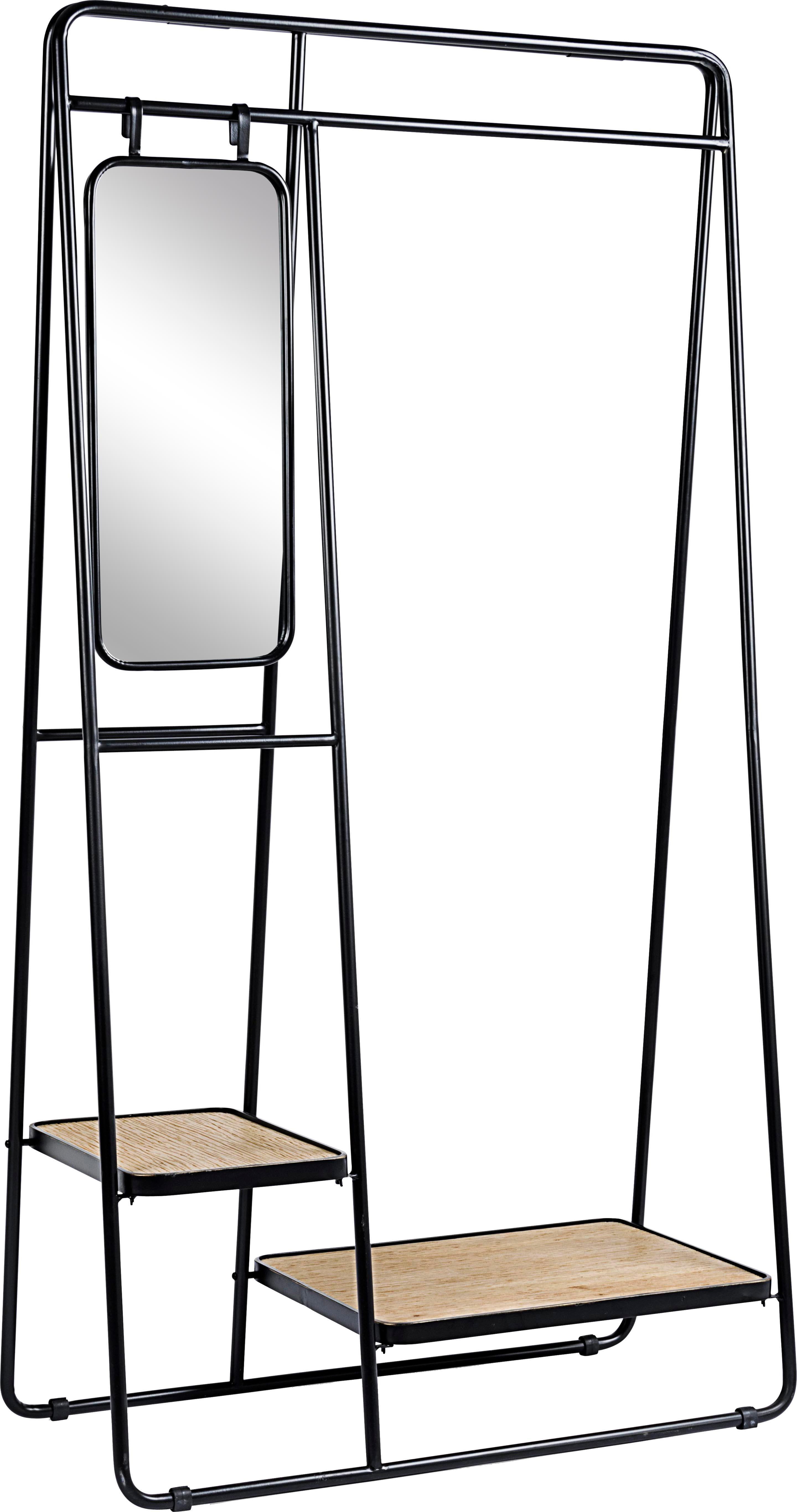 Wieszak stojący z lustrem Jerrod, Stelaż: metal epoksydowany, malow, Czarny, brązowy, S 93 x W 178 cm