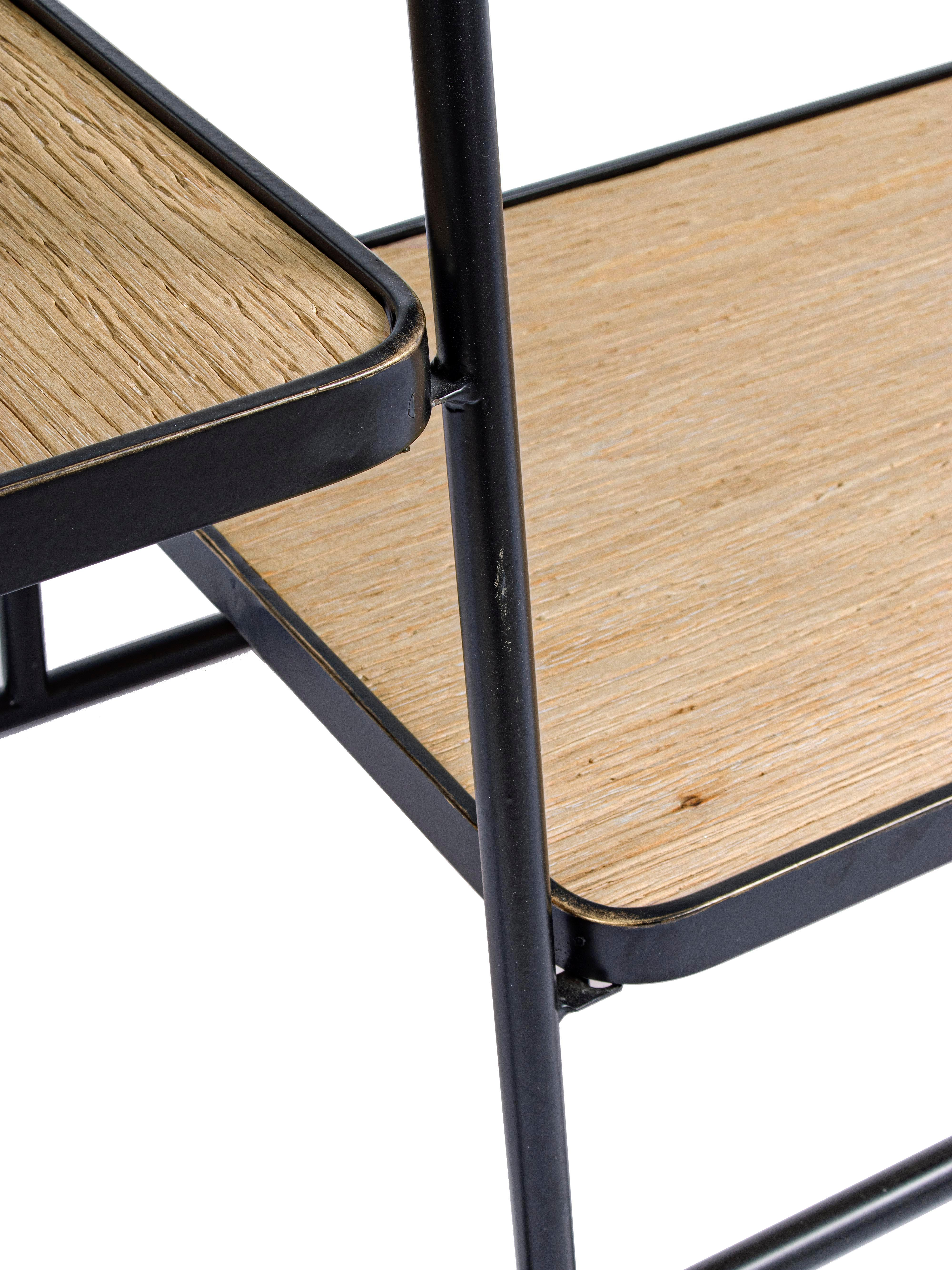 Burro con espejo Jerrod, Estructura: metal epoxidado con pintu, Estantes: tablero de fibras de dens, Espejo: cristal, Negro, marrón, An 93 x Al 178 cm