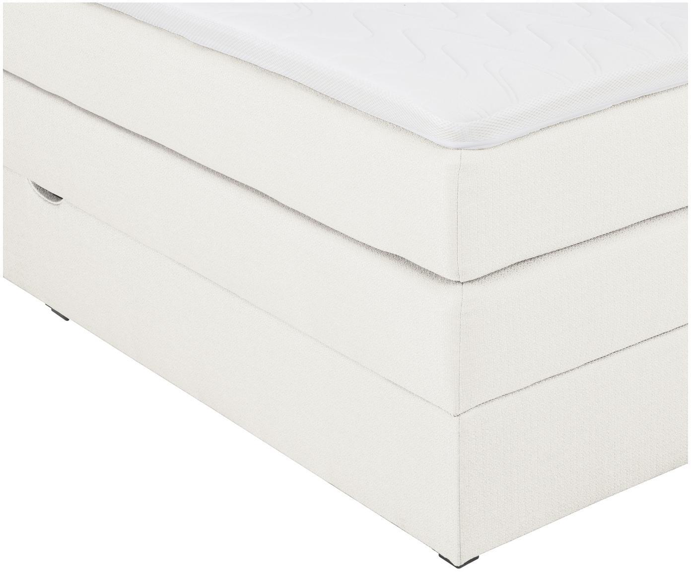 Basis boxspring bed Fendy met opbergruimte, Matras: 7-zones-pocketvering met , Poten: kunststof, Crèmekleurig, 140 x 200 cm