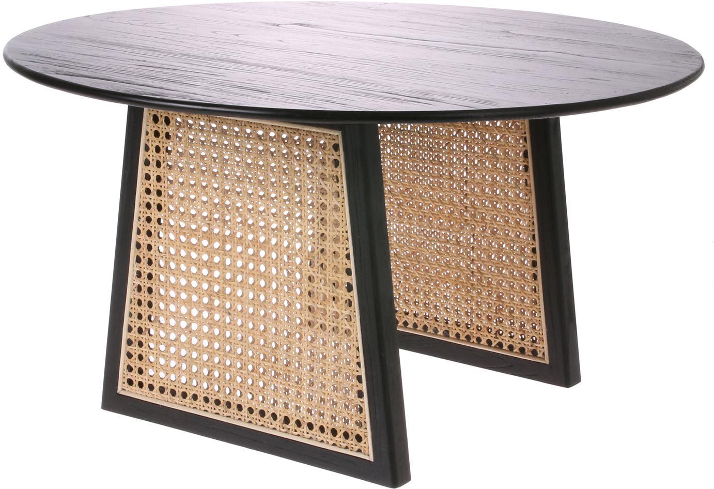 Tavolino da salotto rotondo in vimini Retro, Intreccio viennese: rattan, Nero, Ø 65 x Alt. 35 cm