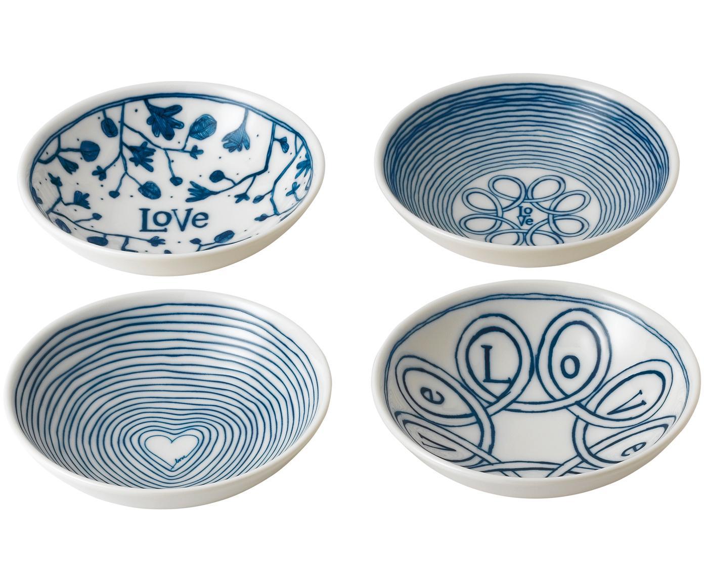 Set de cuencos Love, 4pzas., Porcelana, Marfil, azul cobalto, Ø 14 x Al 4 cm