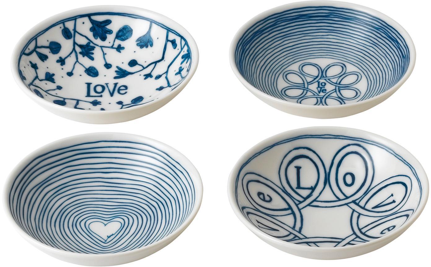 Gemusterte Dipschalen Love in Weiß/Blau, 4er-Set, Porzellan, Elfenbein, Kobaltblau, Ø 14 x H 4 cm