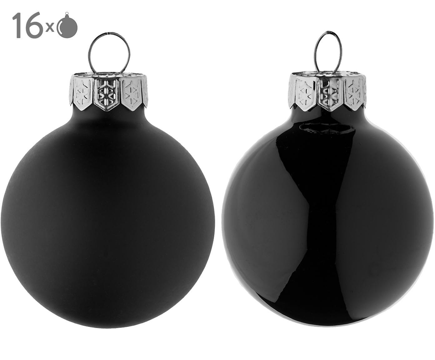 Mini-Weihnachtskugeln-Set Evergreen, 16-tlg., Schwarz, Ø 4 cm