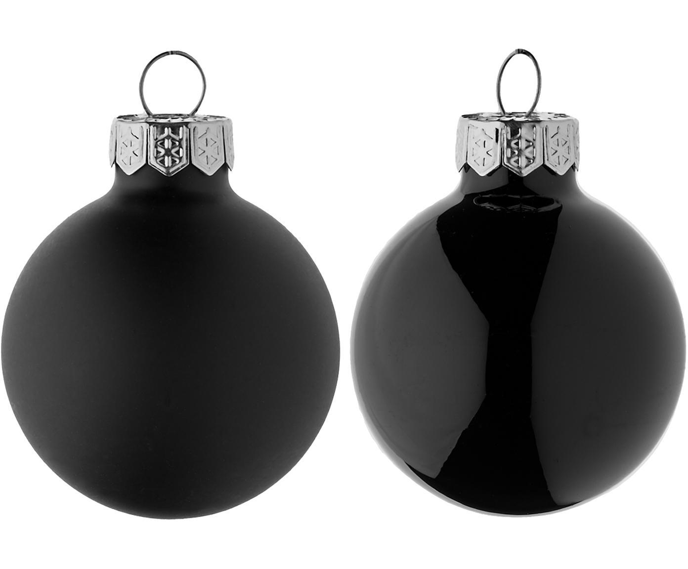 Mini-kerstballenset Evergreen, 16-delig, Zwart, Ø 4 cm