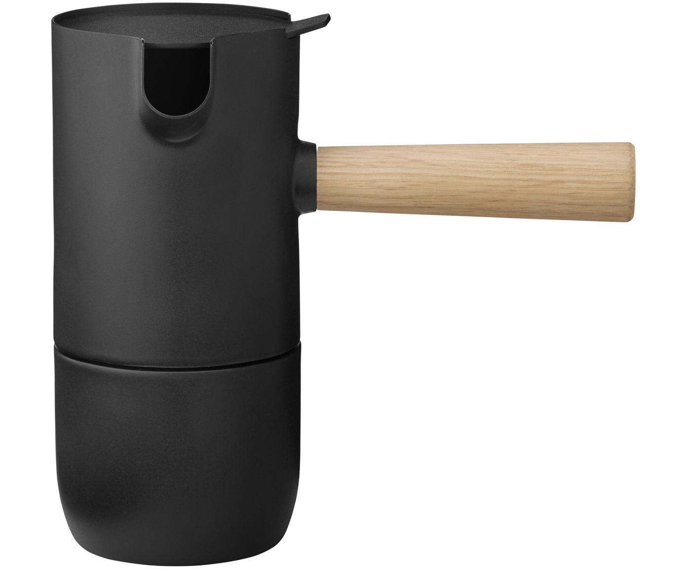 Caffettiera Collar, Contenitore: acciaio inossidabile, Tef, Manico: caucciù, Contenitore: nero opaco Manico: marrone chiaro, 340 ml