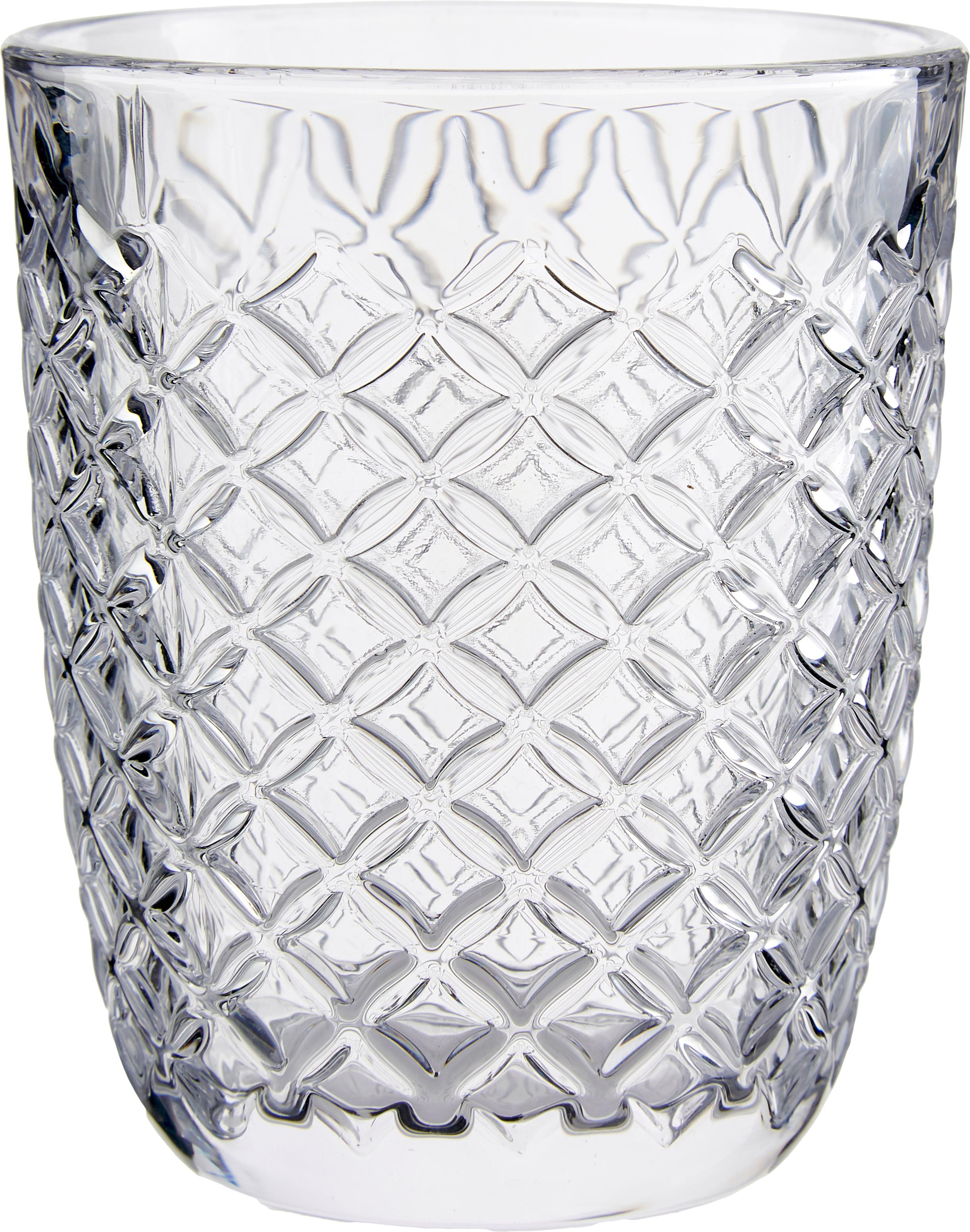 Vasos con relieve Arlequin, 6uds., Vidrio, Transparente, 250 ml