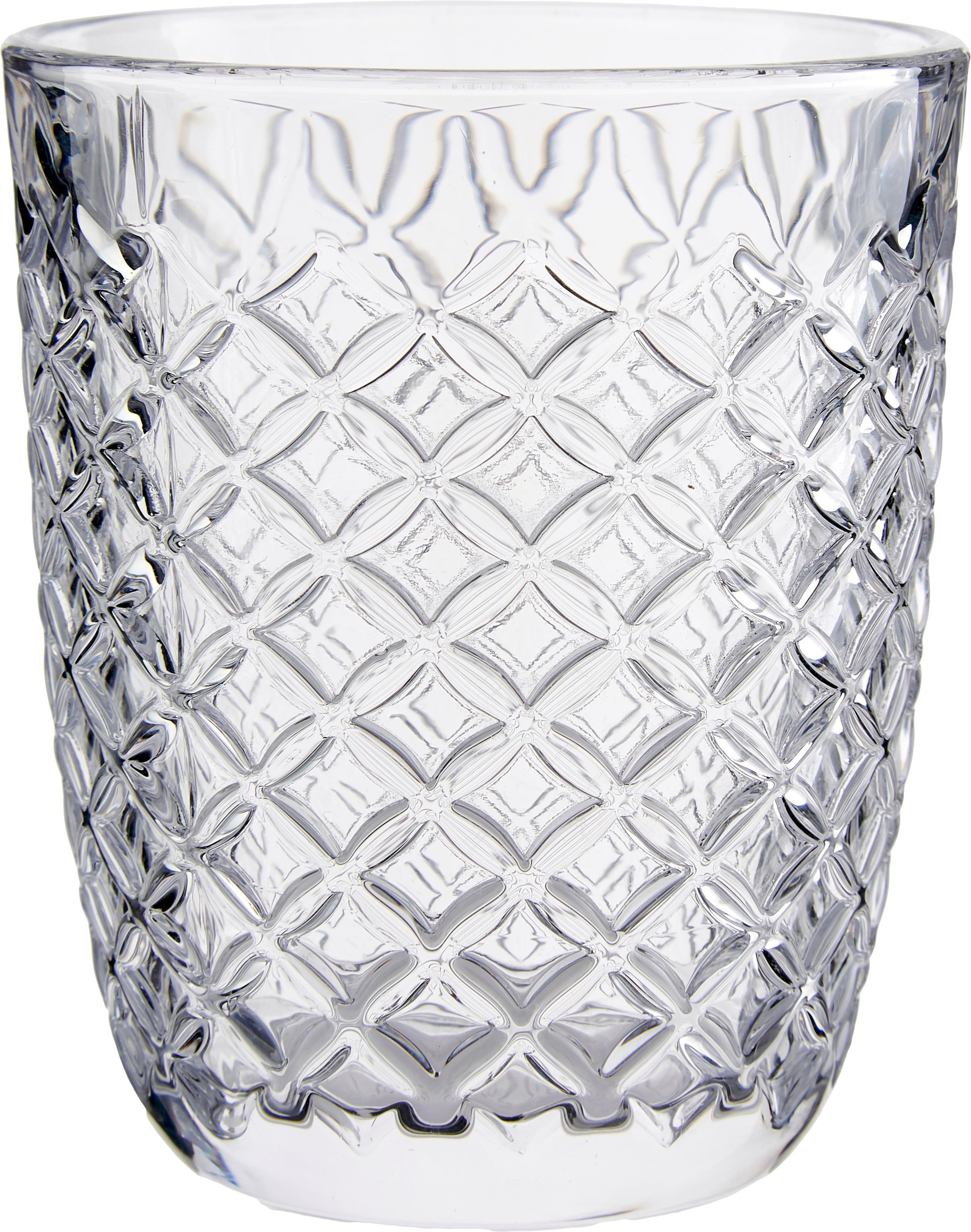 Wassergläser Arlequin mit Reliefmuster, 6er-Set, Glas, Transparent, 250 ml