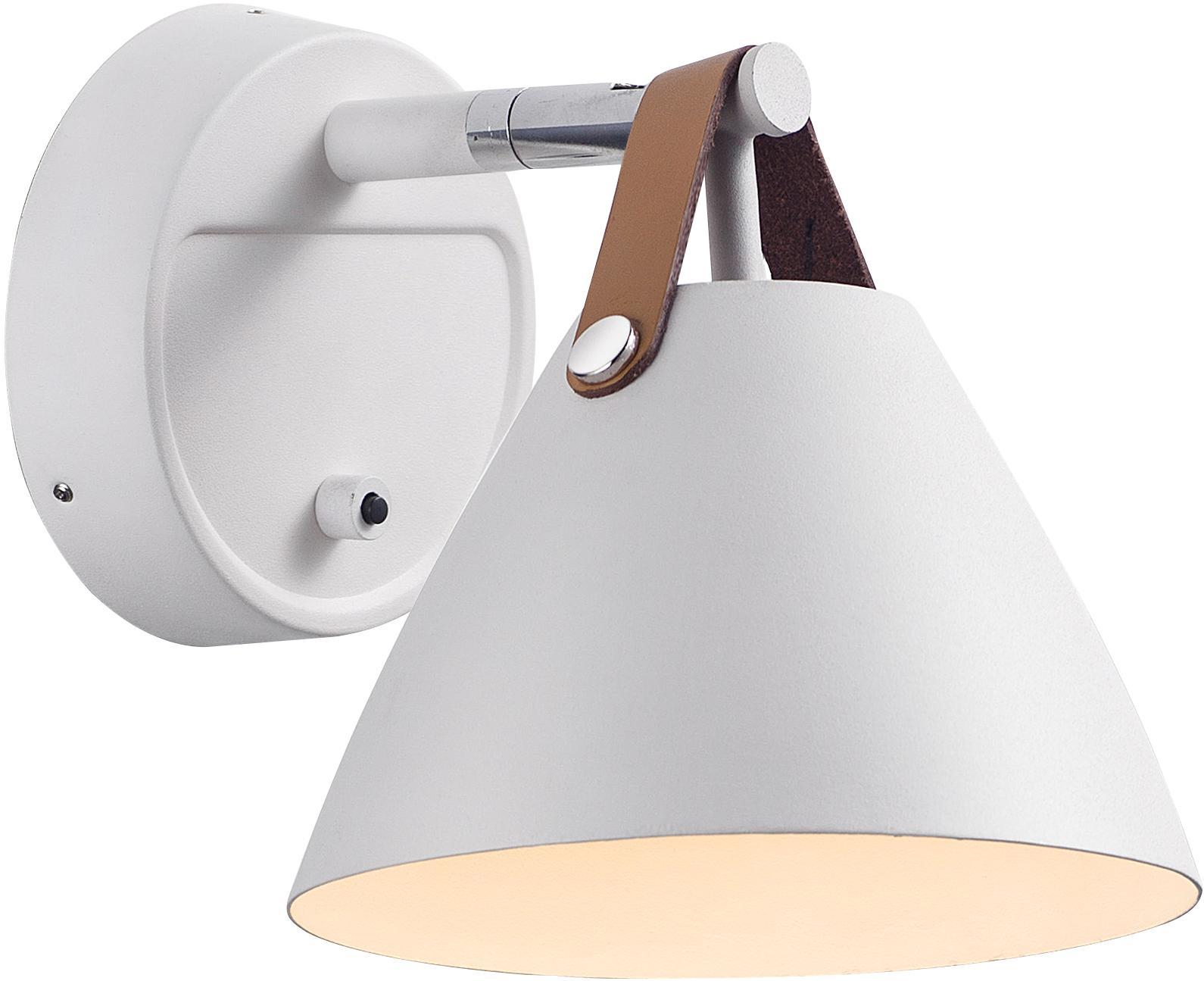 Wandlamp Strap met stekker, Lampenkap en wandbevestiging: wit. Leren band: zandkleurig of zwart, 17 x 17 cm