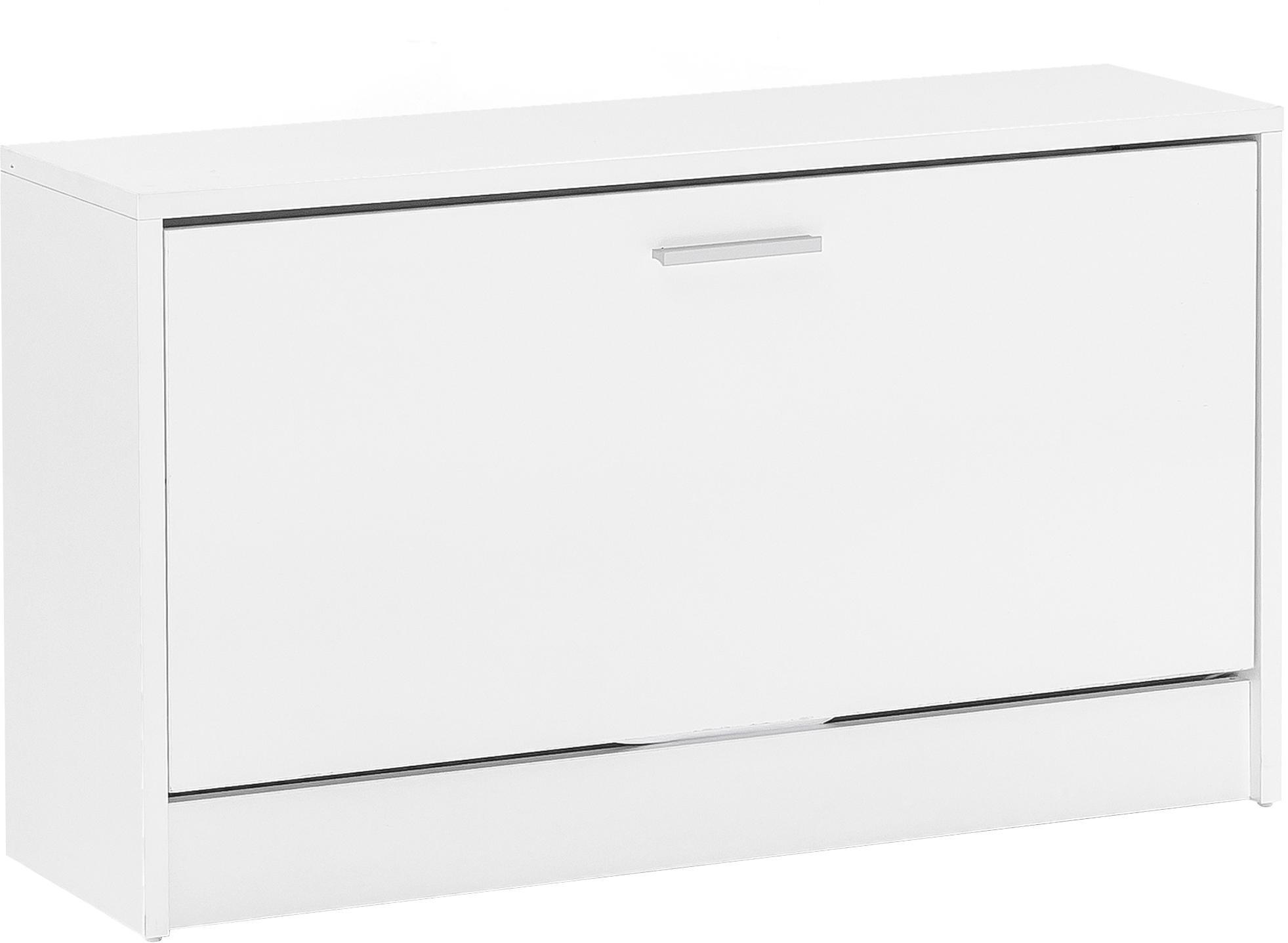 Scarpiera con scomparto pieghevole Zoey, Truciolato, melaminico, Bianco, Larg. 80 x Alt. 47 cm