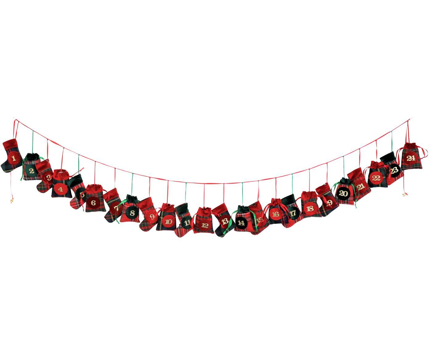 Adventskalender Merry X-Mas , Polyester, katoen, Groen, rood, zwart, L 270 cm