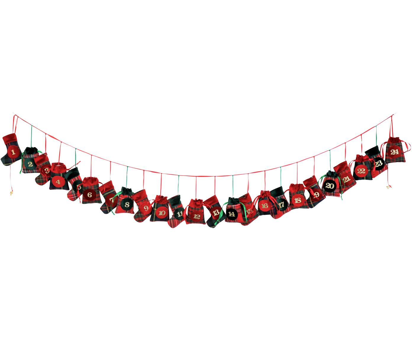 Calendario dell'avvento Merry X-Mas, Poliestere, cotone, Verde, rosso, nero, Lung. 270 cm