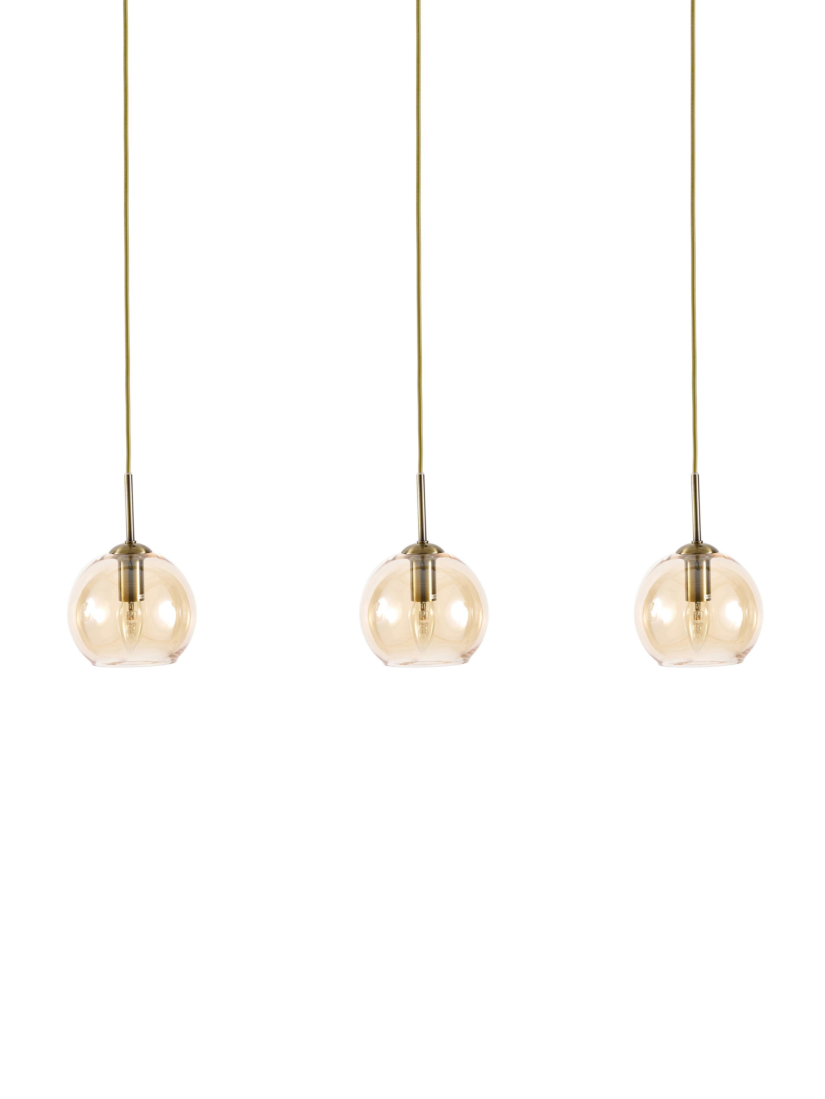 Hanglamp Hamilton in messing, Frame: geborsteld metaal, Baldakijn: geborsteld metaal, Amberkleurig, B 81 x D 15 cm