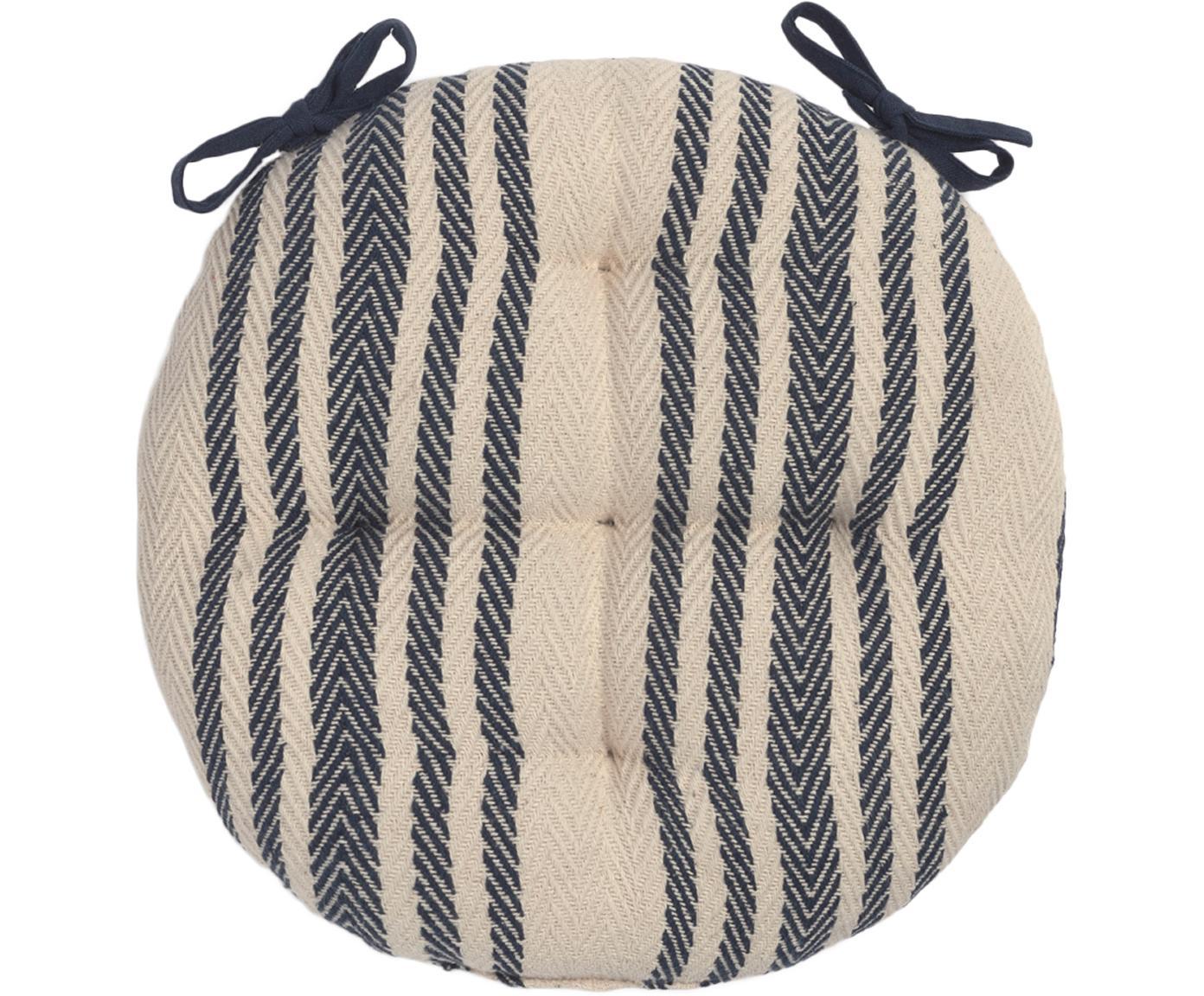 Okrągła poduszka na siedzisko Puket, paski, Ciemny niebieski, biały, Ø 40 cm