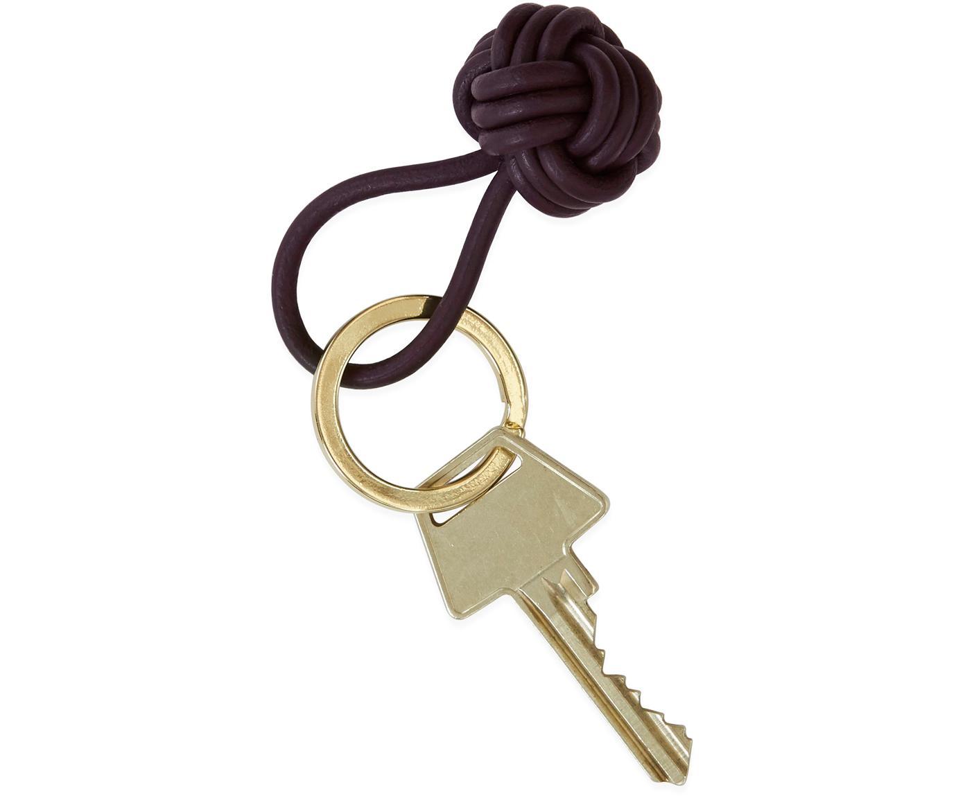 Schlüsselanhänger Knot, Leder, Bordeaux, Ø 4 cm