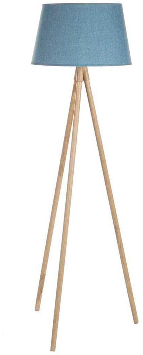 Lámpara de pieWallas, Patas: madera de roble, Pantalla: lino, Azul, beige, Ø 52 x Al 152 cm