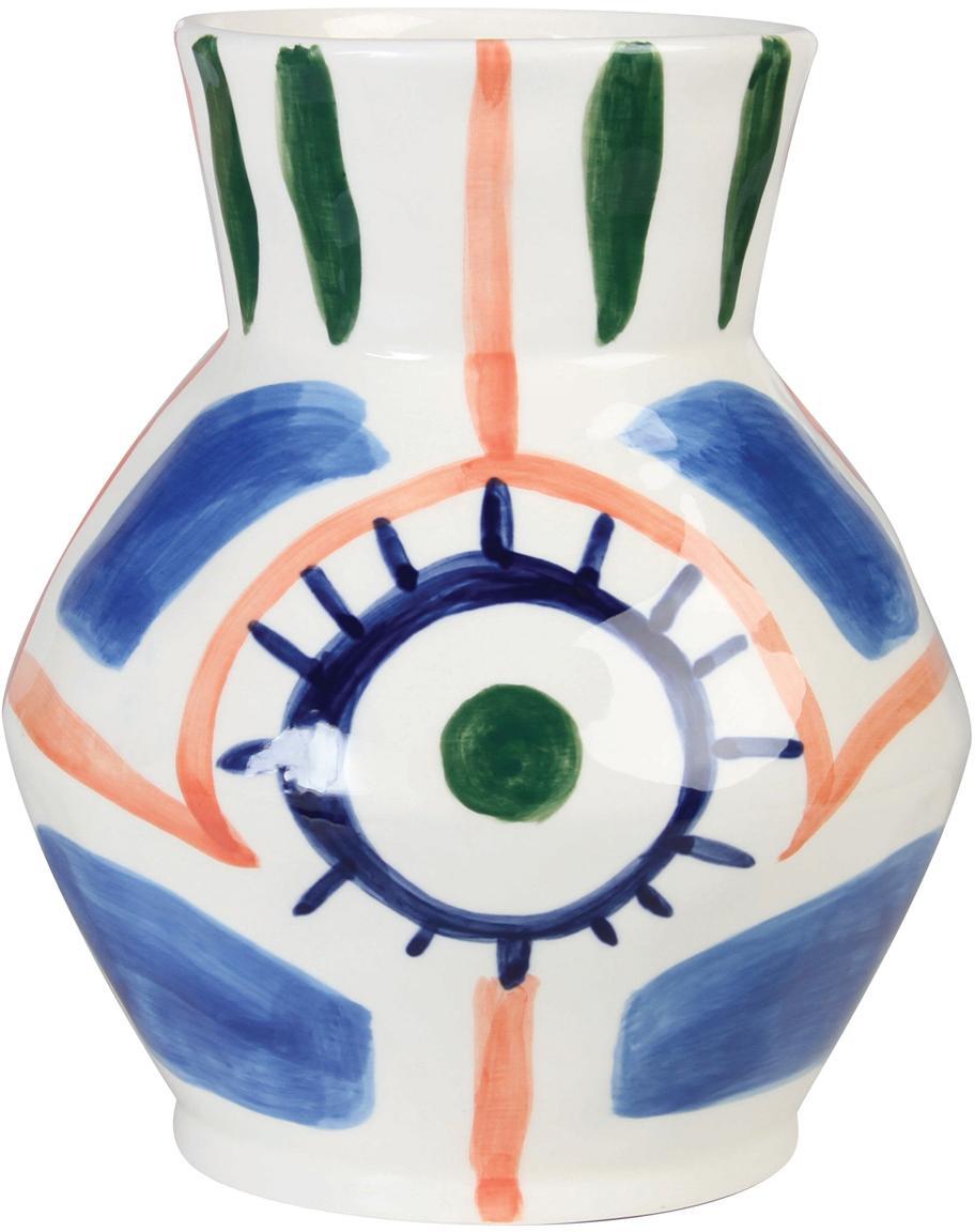 Handgemaakte keramische vaas Baariq, Keramiek, Wit, blauw, oranje, groen, Ø 16 x H 20 cm