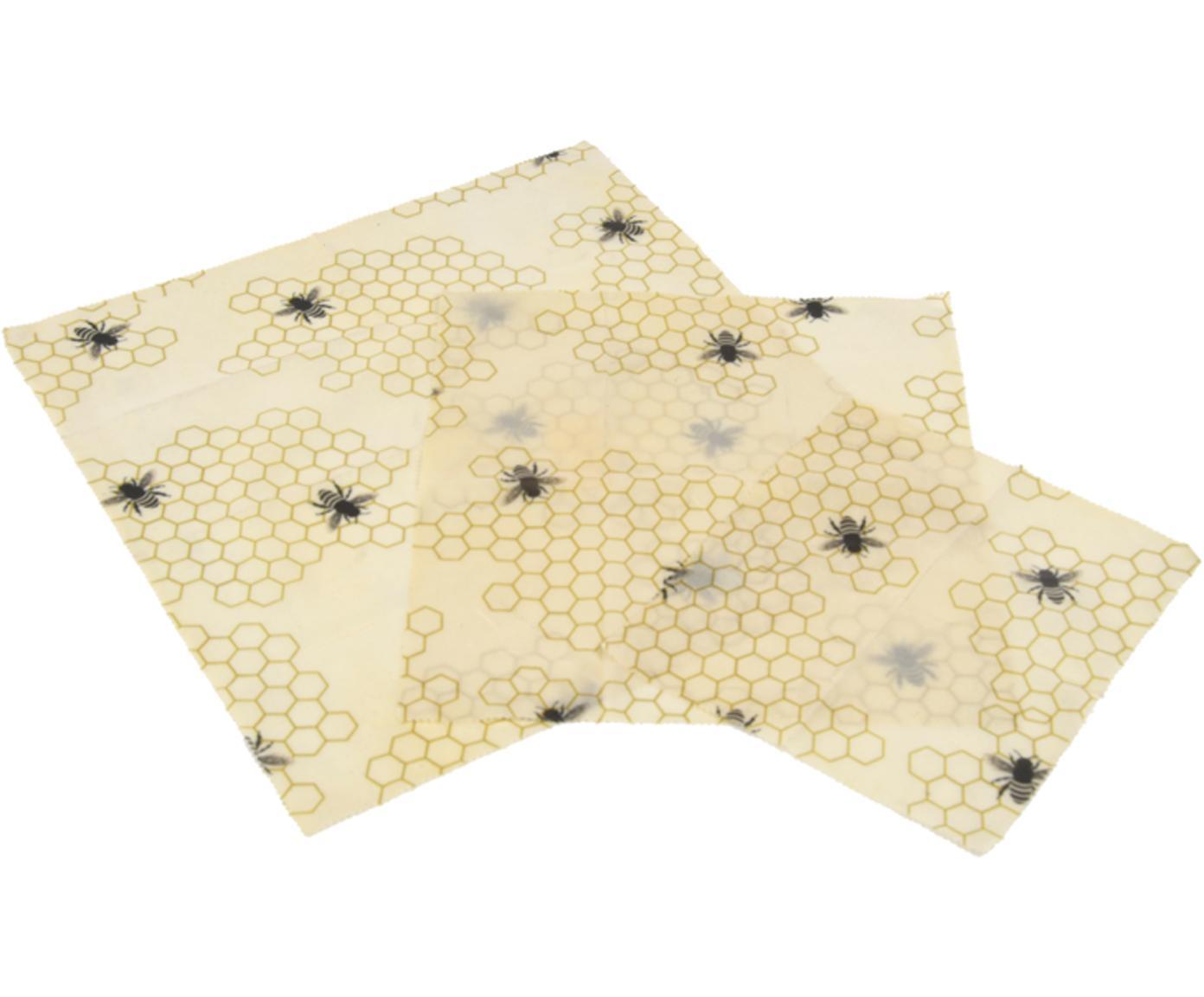 Set 3 panni in cera d'api Bee, Cotone, cera, Giallo, nero, Diverse dimensioni