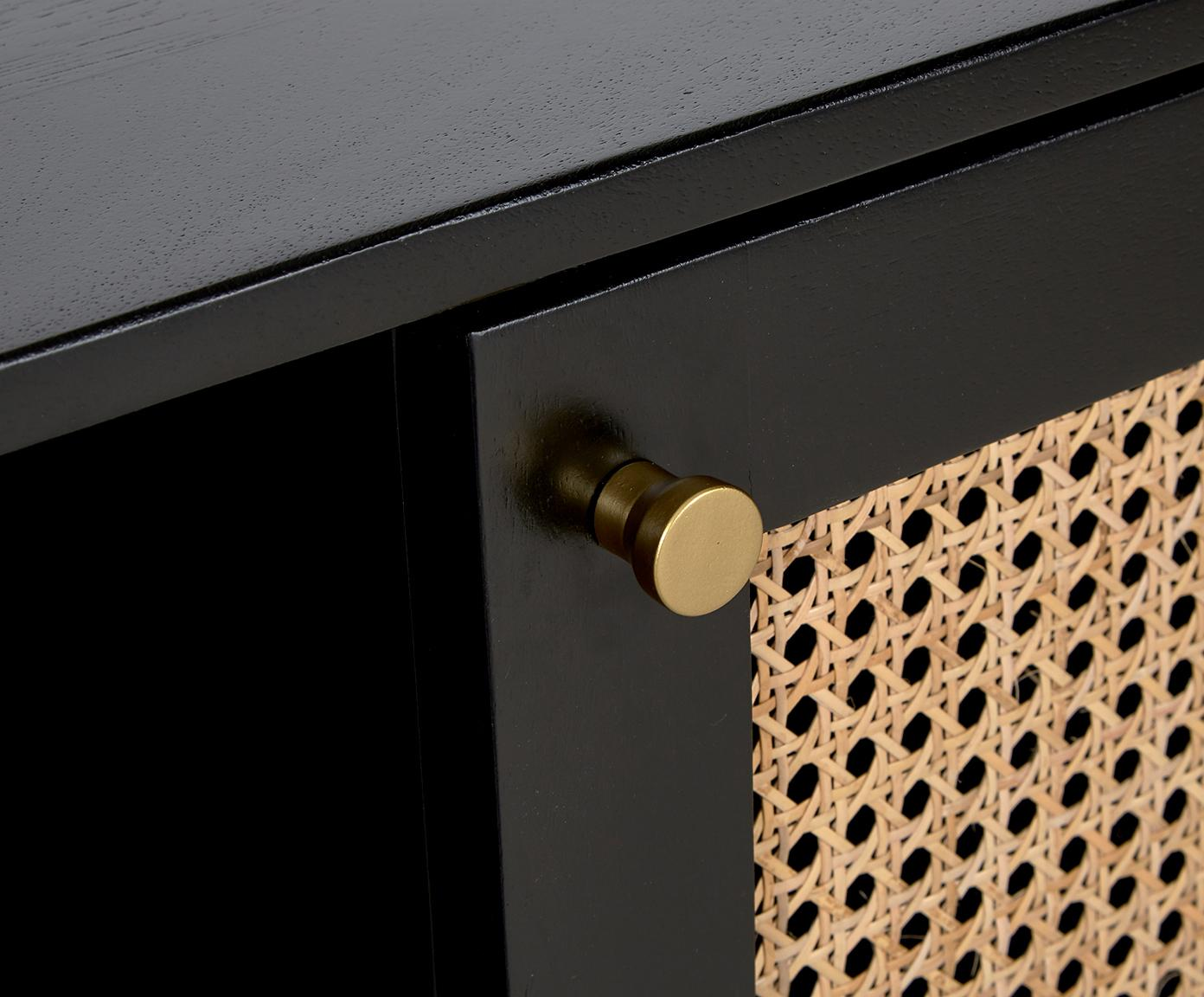 Tv-meubel Vienna met Weens vlechtwerk, Frame: gelakt massief mangohout,, Poten: gepoedercoat metaal Bambo, Zwart, beige, 160 x 50 cm