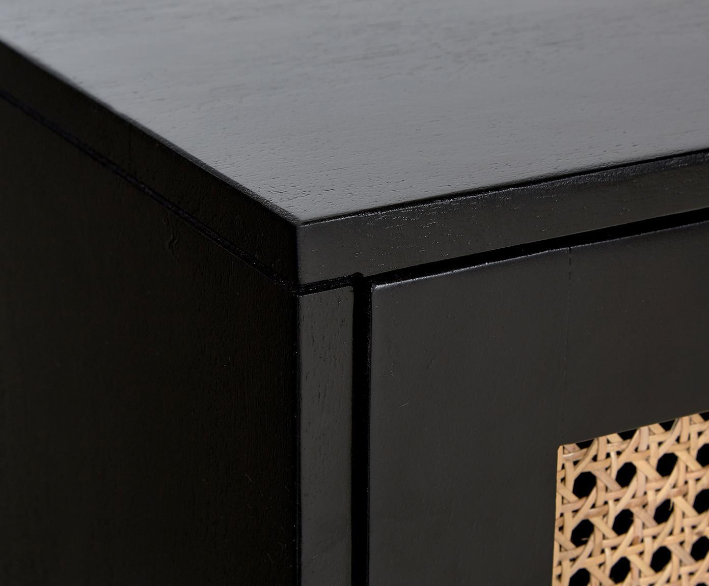 Szafka niska z plecionką wiedeńską Vienna, Korpus: lite drewno mangowe, laki, Nogi: metal malowany proszkowo , Czarny, beżowy, S 160 x W 50 cm