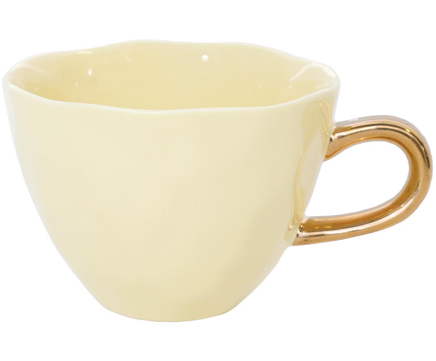 Tasse Good Morning in Gelb mit goldenem Griff, Steingut, Gelb, Goldfarben, Ø 11 x H 8 cm