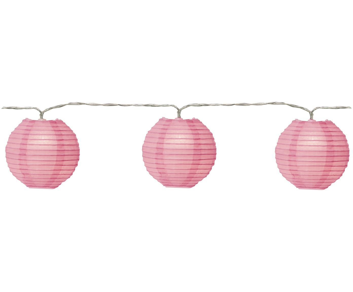 LED Lichterkette Festival, 300 cm, Lampions: Papier, Rosa, L 300 cm