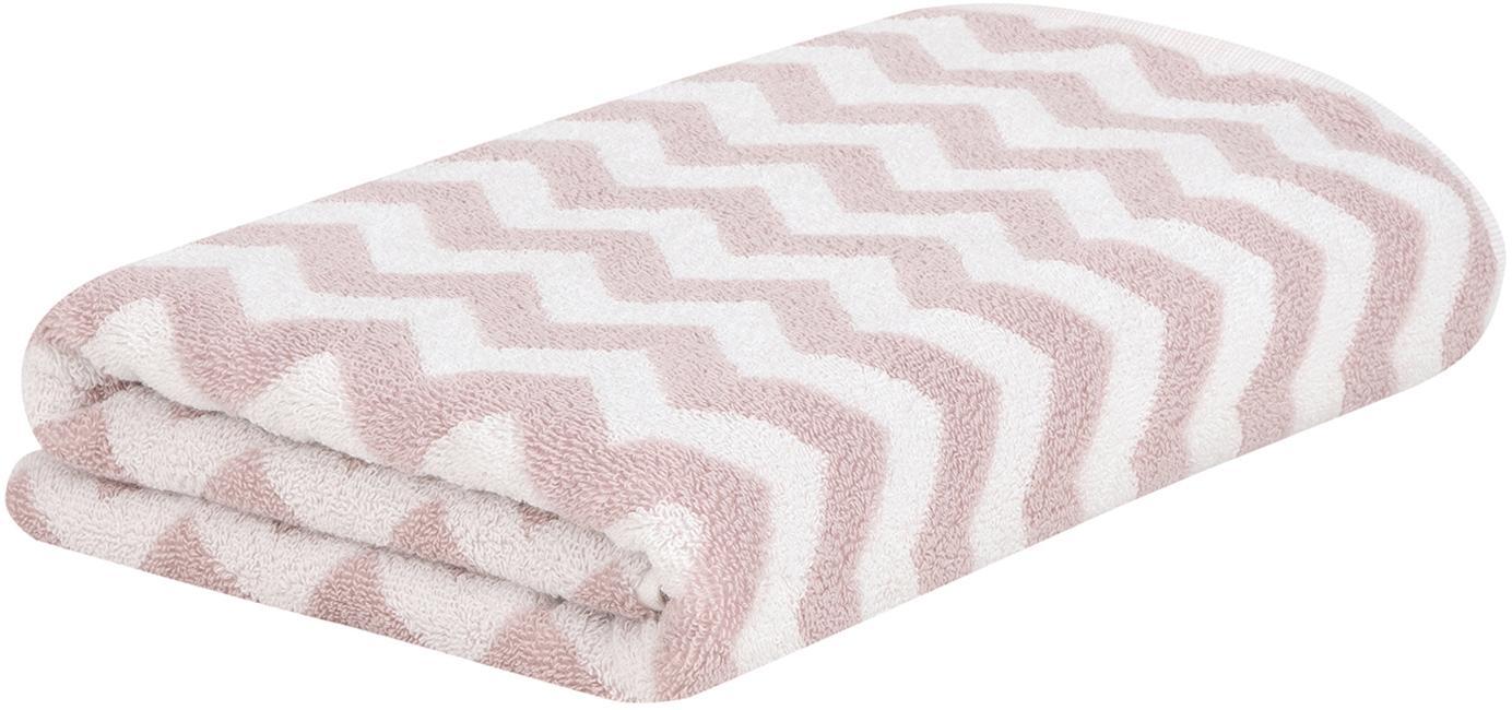 Asciugamano con motivo a zigzag Liv, Rosa, bianco crema, Asciugamano