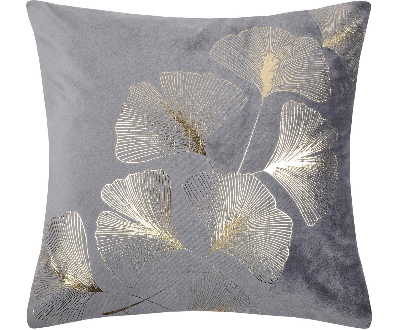 Fluwelen kussen Ginnan met goudkleurig ginkgo print, met vulling, Fluweel, Grijs, goudkleurig, 40 x 40 cm