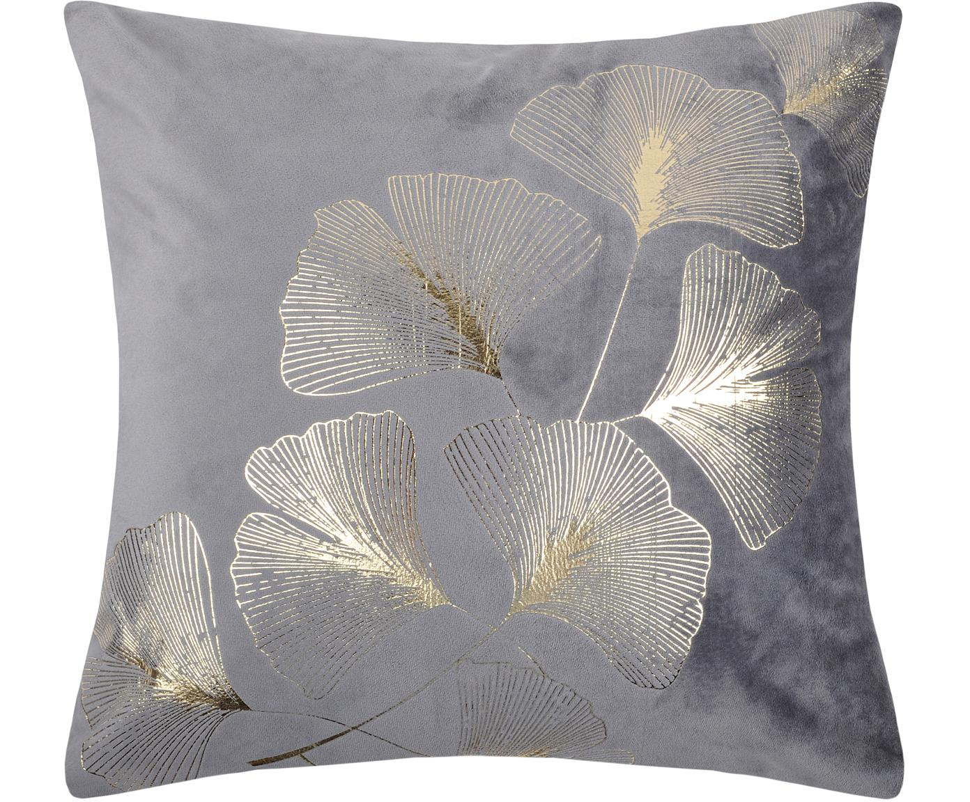 Samt-Kissen Ginnan mit goldenem Ginkgo-Print, mit Inlett, 100% Samt, Grau, Gold, 40 x 40 cm