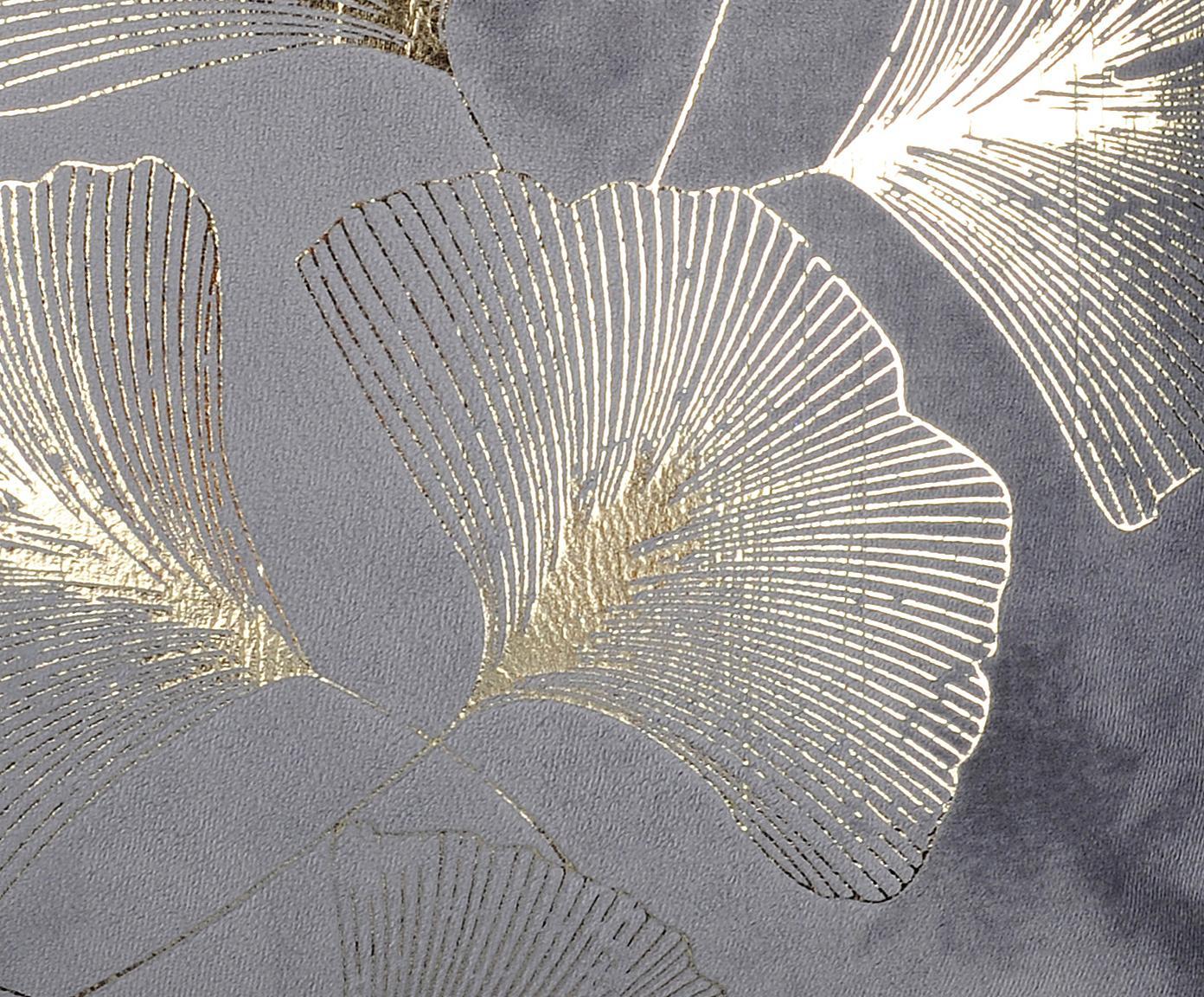 Poduszka z aksamitu z wypełnieniem  Ginnan, Polietylen, Szary, złoty, S 40 x D 40 cm
