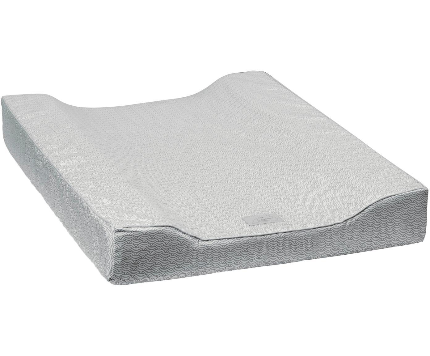 Aankleedkussen Wave, Bekleding: organisch katoen, Grijs, wit, 50 x 65 cm
