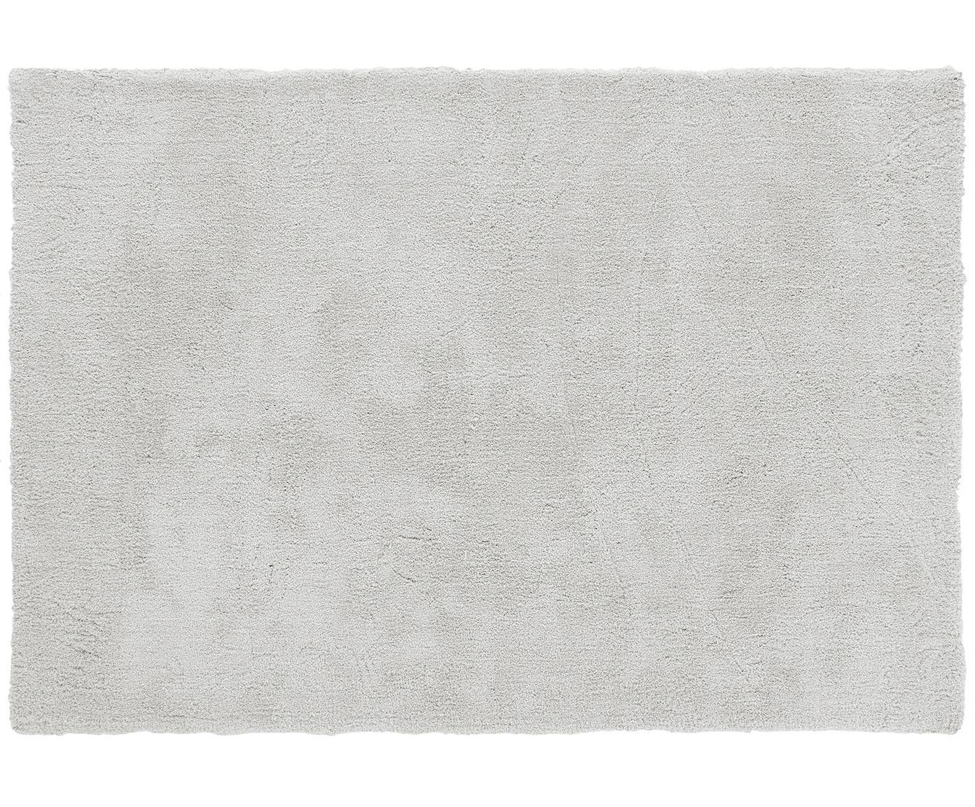 Pluizig hoogpolig vloerkleed Leighton in lichtgrijs, Bovenzijde: 100% polyester (microveze, Onderzijde: 100% polyester, Lichtgrijs, 80 x 150 cm