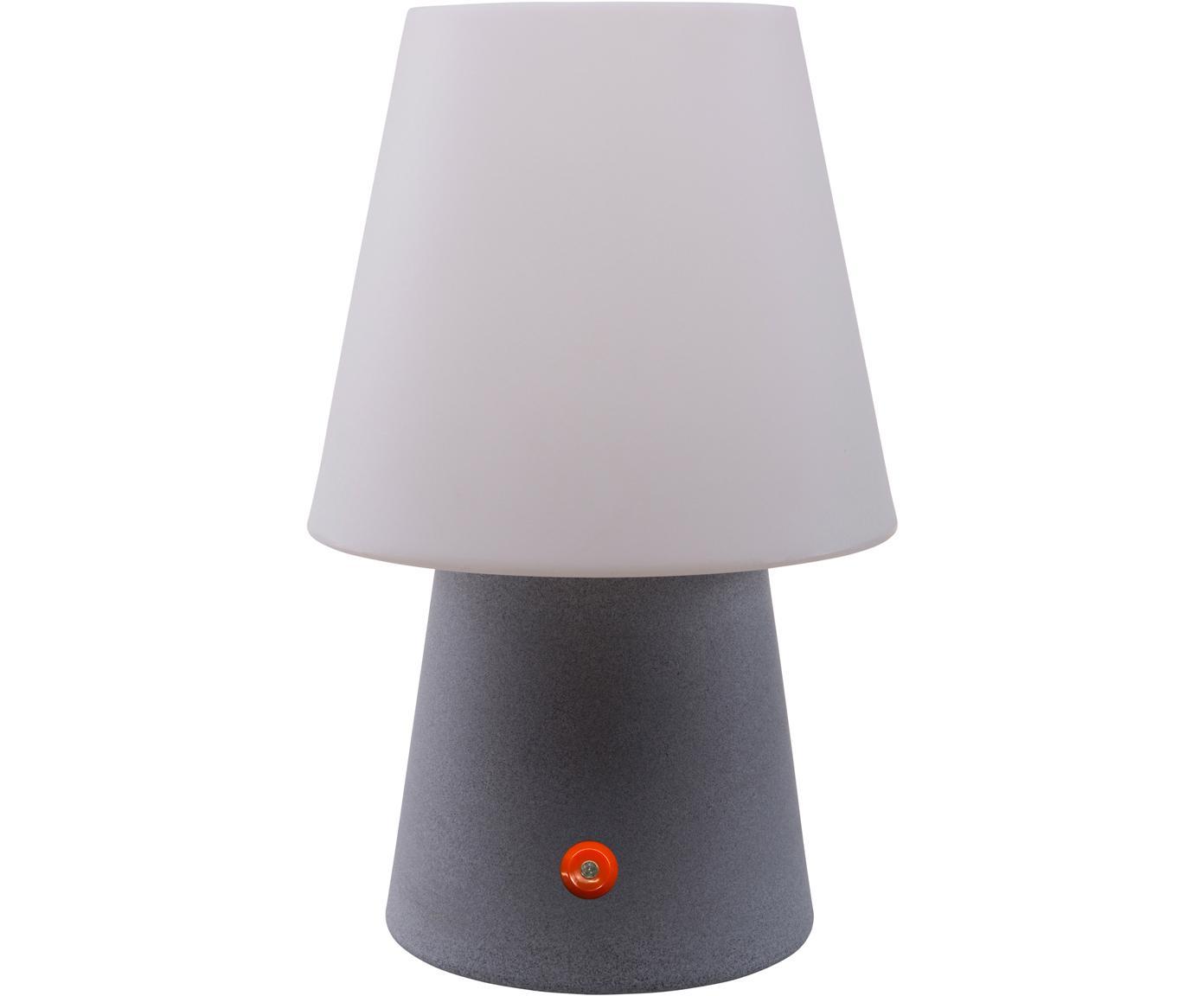 Mobiele outdoor LED tafellamp No. 1 , Kunststof, Wit, grijs, Ø 18 x H 29 cm