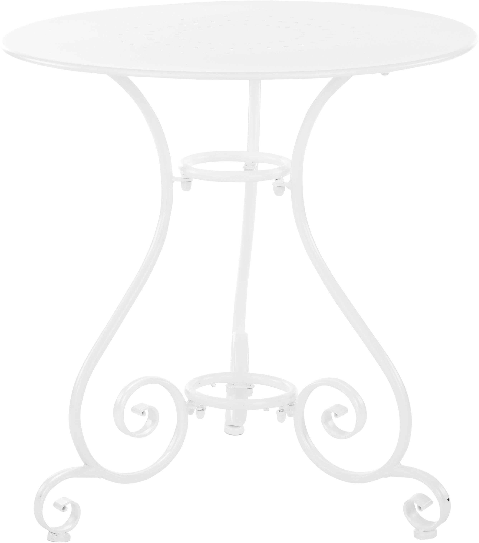 Mesa redonda de jardín de metal Etienne, Acero con pintura en polvo resistente a la intemperie, Blanco, Ø 70 x Al 72 cm
