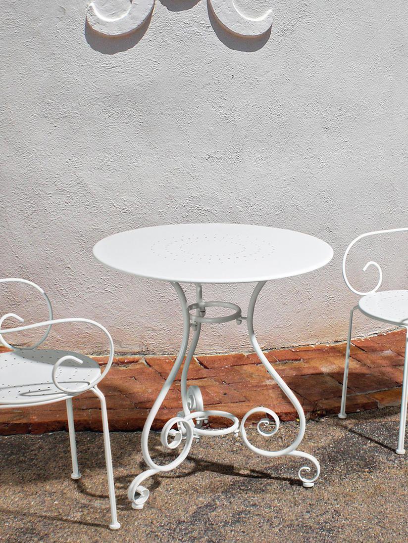 Tuintafel Etienne, Staal, weerbestendig poedercoating, Wit, Ø 70 x H 72 cm