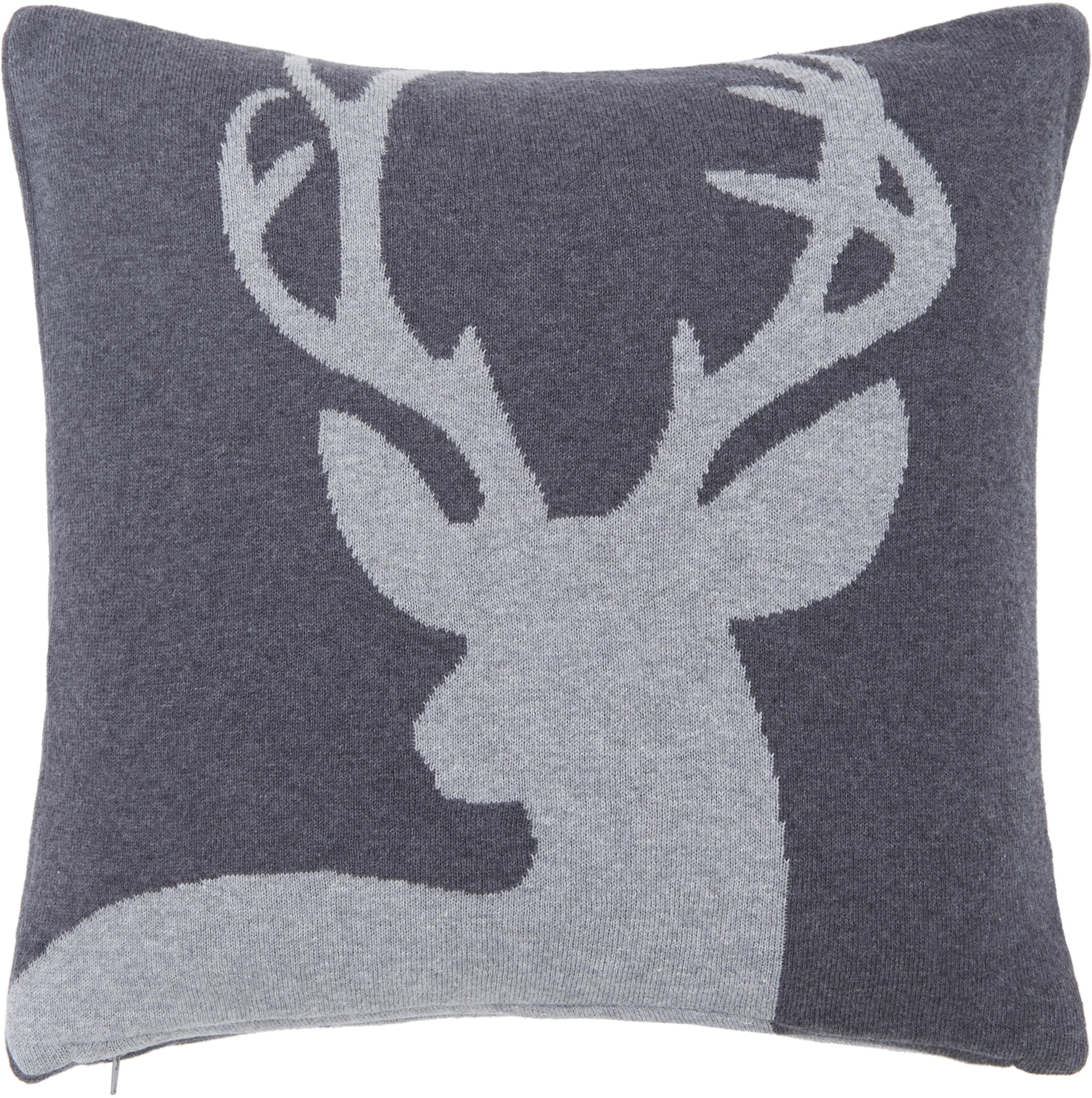 Federa arredo fatta a maglia con motivo cervo Antler, 100% cotone, Grigio scuro, grigio chiaro, Larg. 40 x Lung. 40 cm