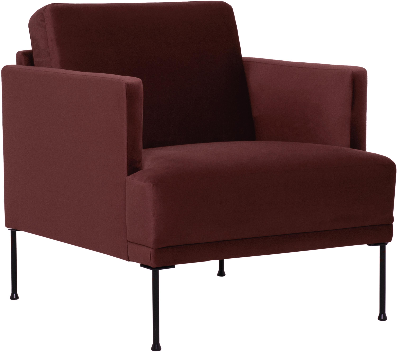 Fotel z aksamitu Fluente, Tapicerka: aksamit (wysokiej jakości, Stelaż: lite drewno sosnowe, Nogi: metal malowany proszkowo, Aksamitny rudy, S 76 x G 83 cm