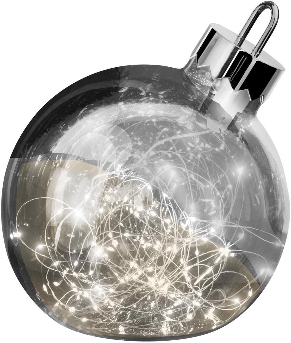 Palla di Natale grande in vetro con luci LED Aggia, Cromo, Ø 20 x Alt. 22 cm