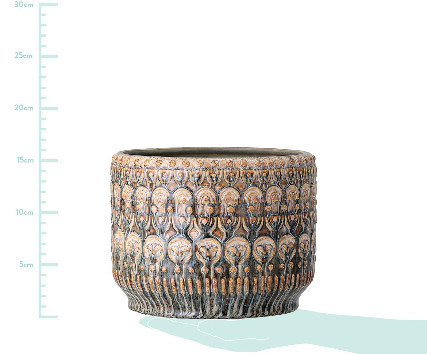 Ręcznie wykonana osłonka na doniczkę Finka, Kamionka, Odcienie zielonego, pomarańczowy, Ø 20 x W 15 cm