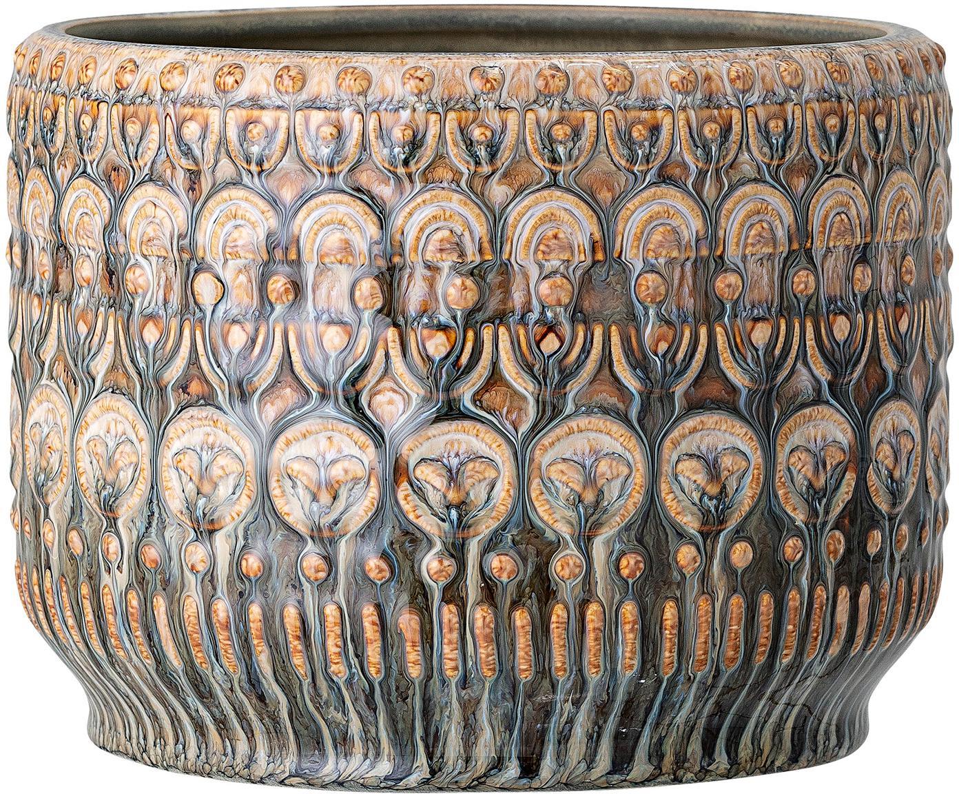 Handgefertigter Übertopf Finka, Steingut, Grüntöne, Orange, Ø 20 x H 15 cm