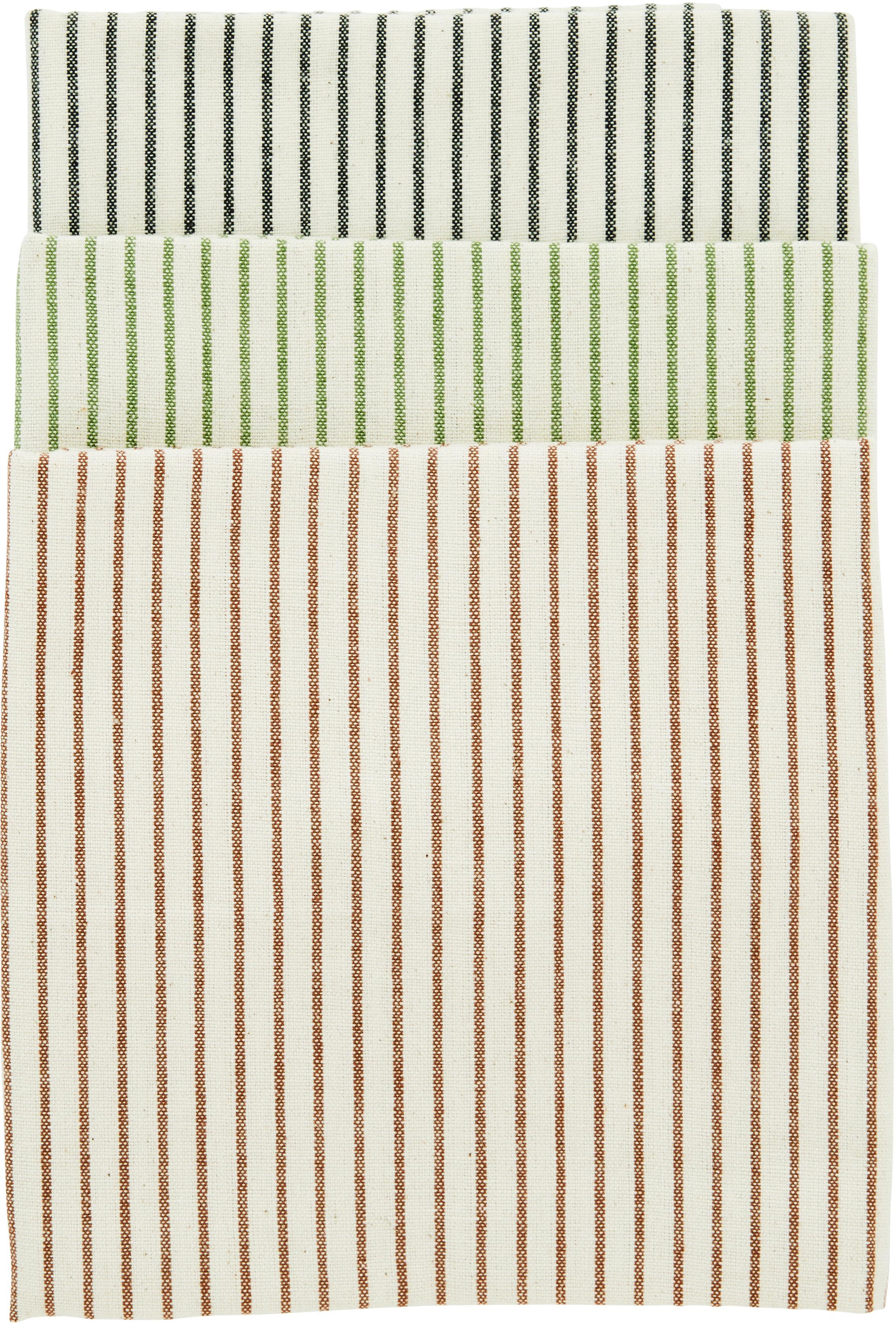 Gestreifte Geschirrtücher Sienna, 3er-Set, 100% Baumwolle, Ecru, Schwarz, Grün, Braun, 50 x 70 cm