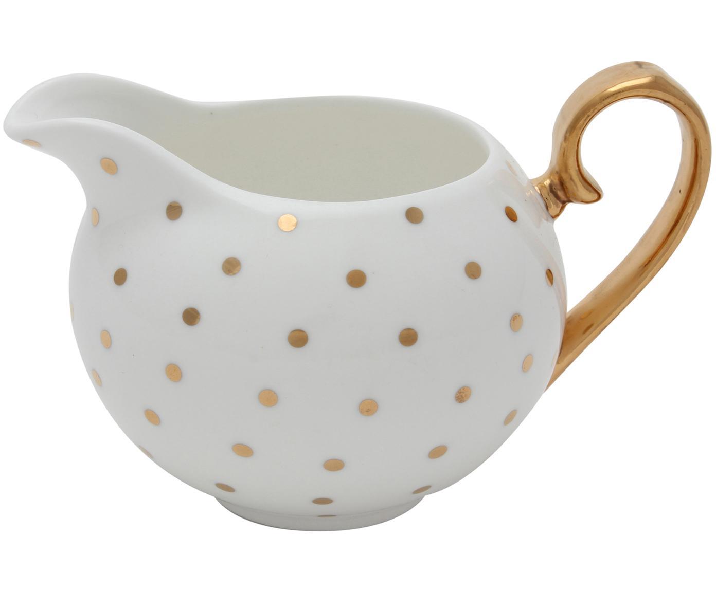 Lechera Miss Golightly, Porcelana fina, dorada, Blanco, dorado, Ø 6 x Al 7 cm