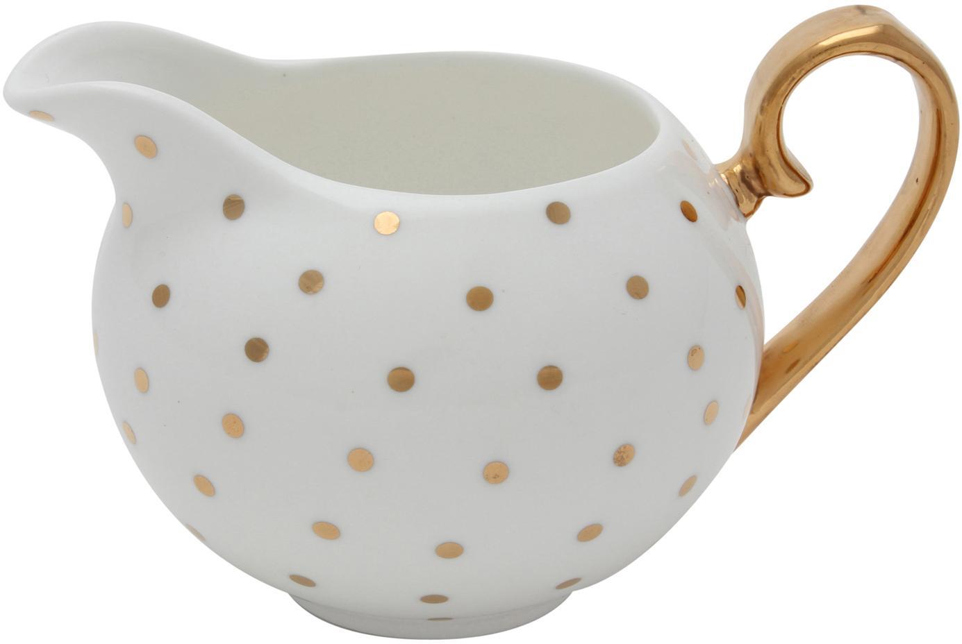 Milchkännchen Miss Golightly, Bone China, vergoldet, Weiß, Gold, Ø 6 x H 7 cm