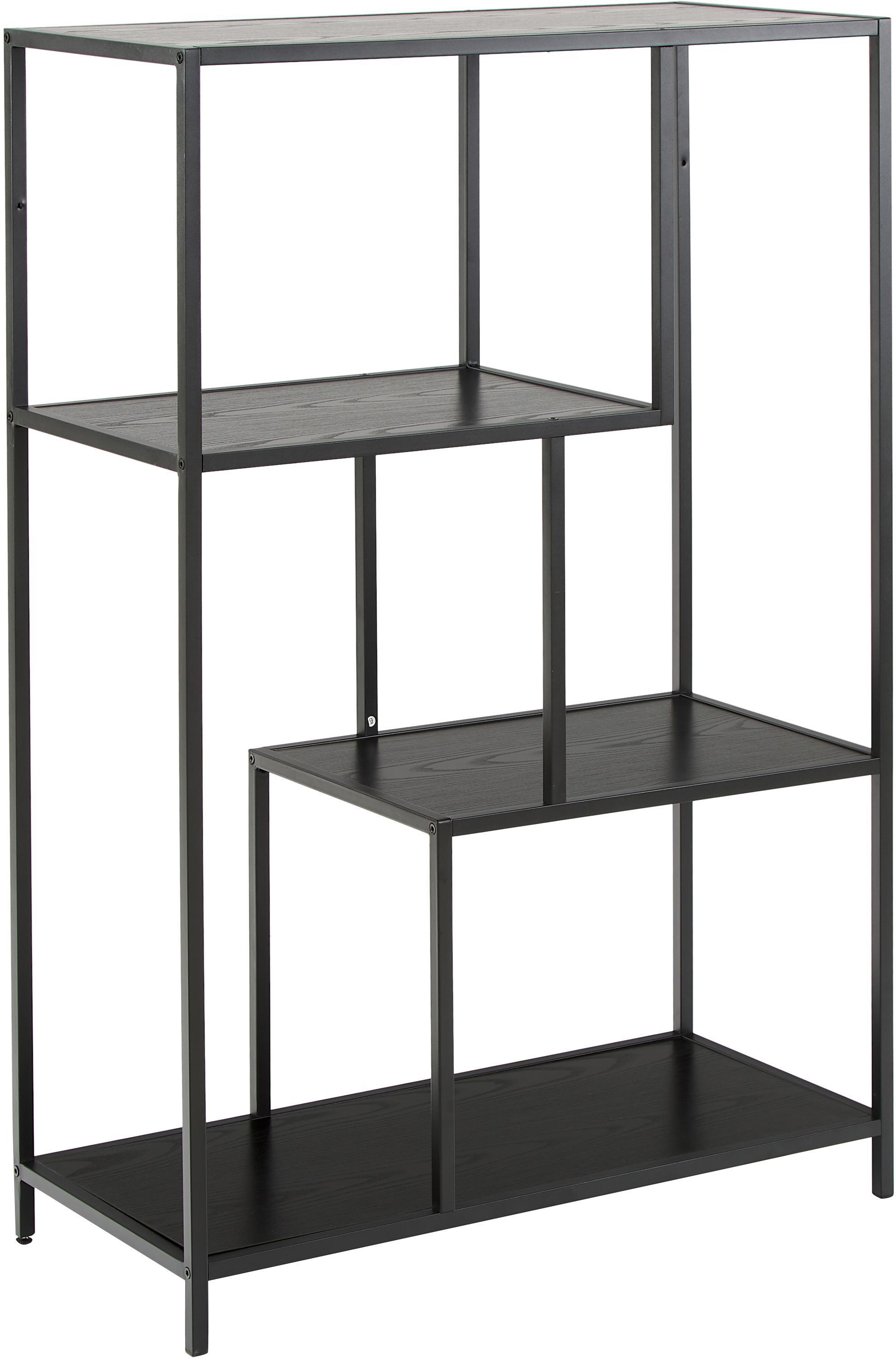 Libreria in legno e metallo Seaford Zig, Ripiani: pannello di fibra a media, Struttura: metallo verniciato a polv, Nero, Larg. 77 x Alt. 114 cm