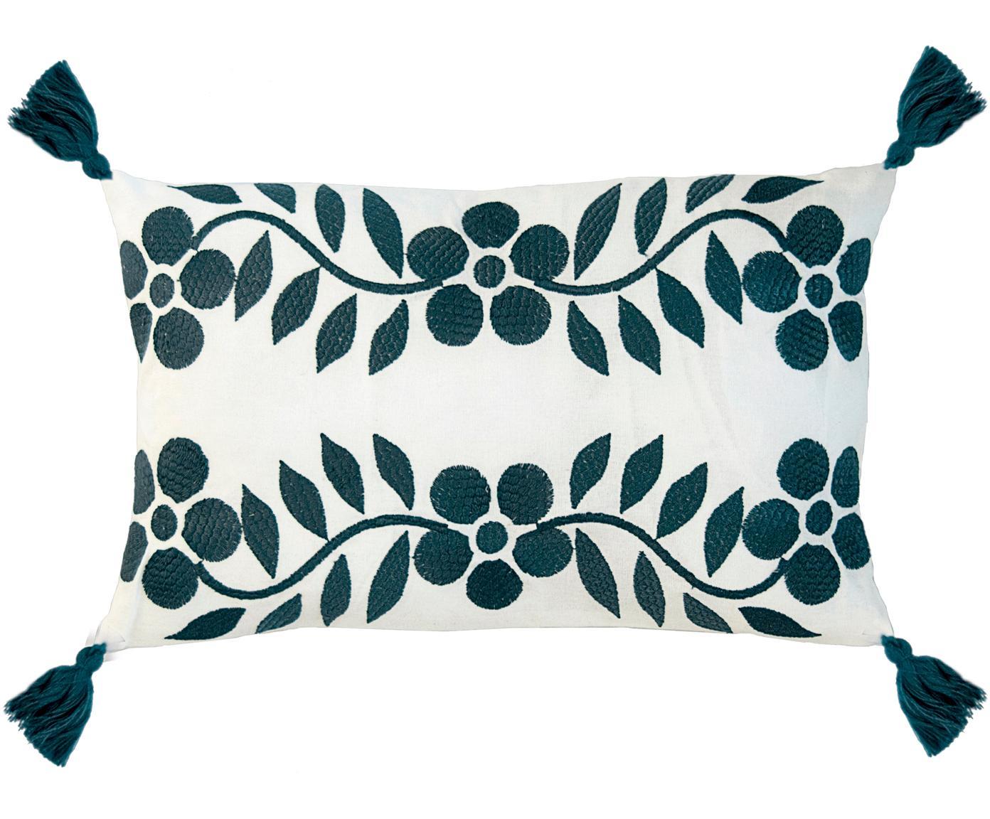 Kussenhoes Matisse met bloemen borduurwerk en kwastjes, Katoen, Wit, marineblauw, 30 x 50 cm